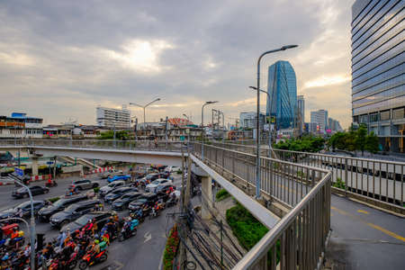 Bangkok, Thailand - December 2, 2020: Overpass at sunset with Bangkok city.