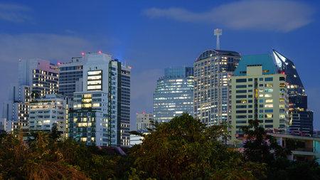 Aerial view of bangkok at twilight night.