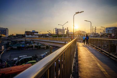 Bangkok, Thailand - Novvember 19, 2020: Overpass at sunset with Bangkok city.