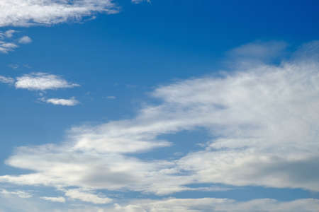 The vast clear blue sky and beautiful clouds on good weather in the morning. Background nature landscape.
