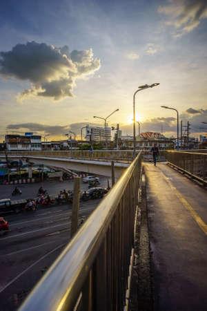 Bangkok, Thailand - Novvember 24, 2020: Overpass at sunset with Bangkok city. Редакционное