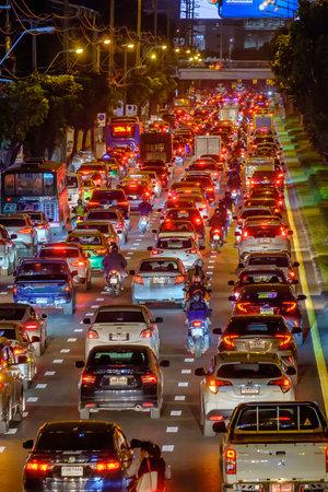 Bangkok, Thailand - December 22, 2020: View of Traffic jam at night in Ratchada Road, Jatujak district, Bangkok Thailand.
