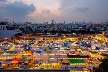 Bangkok, Thailand - October 12, 2020: Night view of the Train Night Market Ratchada. Train Night Market Ratchada, also known as Talad Nud Rod Fai, is a new flea market place at Bangkok.