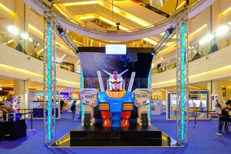 Bangkok, Thailand - Octopber 1, 2020: Gundam RX-78 big figure 40th anniversary of Gunpla multiverse event Bandai spirit hobby exhibition 2020 at Siam Paragon department store
