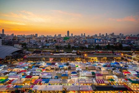 Bangkok, Thailand - November 10, 2020: Night view of the Train Night Market Ratchada. Train Night Market Ratchada, also known as Talad Nud Rod Fai, is a new flea market place at Bangkok. Редакционное