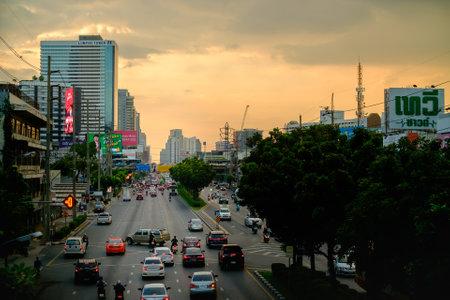 Bangkok, Thailand - November 6, 2020: Bangkok city with traffic jam, rush hour evening.