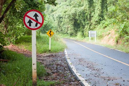 overtake: A traffic warning sign \\\Do not overtake\\\ Stock Photo