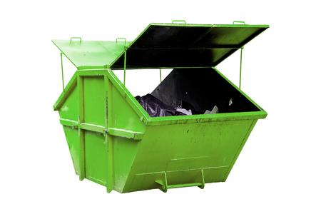 basurero: Industrial Cubo de basura (basurero) para los residuos municipales o de desechos industriales, aislado en fondo blanco con trazado de recorte