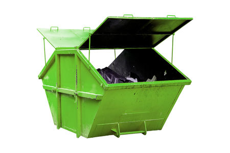 dumpster: Industrial Waste Bin (dumpster) for municipal waste or industrial waste, isolated on white background with clipping path Stock Photo