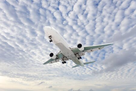 good weather: Airplane in the sky Good weather day background Stock Photo