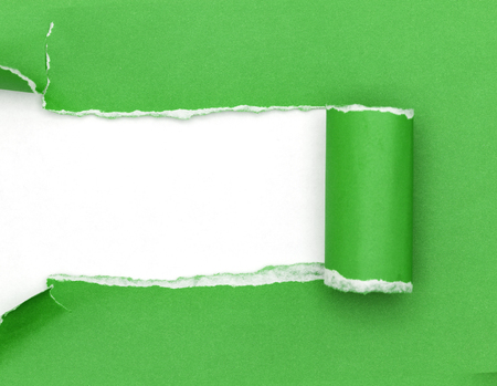 torn: Green ripped open paper on white paper background