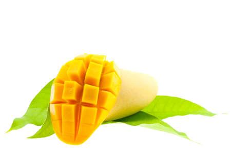 Fresh mango with leaves isolated on white background. Stock Photo