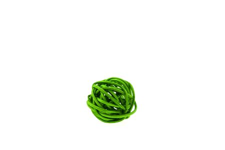 Green wicker ball isolated on white background