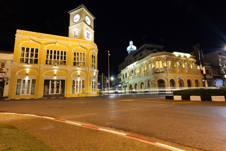 Old building in night time phuket town Thailand Stock Photo