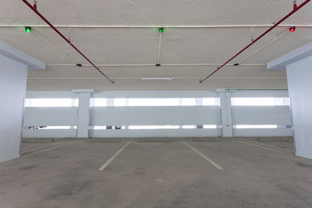 warehouse: Parking garage interior, industrial building,empty space car park interior Stock Photo