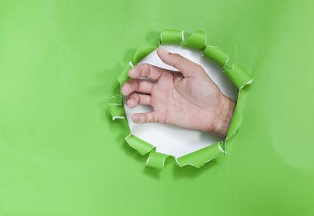 手が白い背景の緑の紙をリッピング