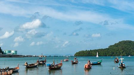 long tail boat in andaman sea at phuket thailand