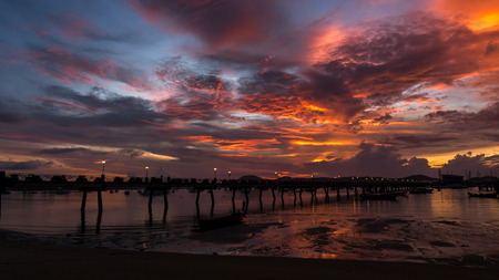 Chalong pier during sunrise or sunset,beautiful colorful dramatic sky in Phuket thailand