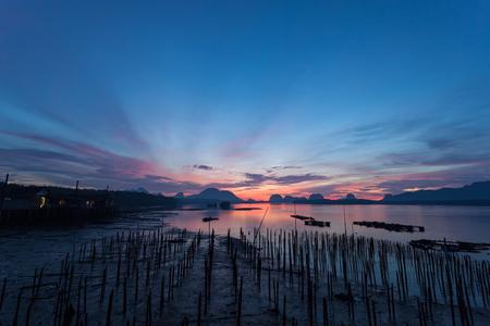 Beautiful sunrise landscape view of Samchong-tai in Phang-Nga,Thailand