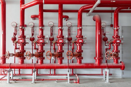 Red water pipe valve,pipe for water piping system control in industrial building