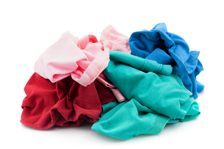 pile of dirty cloth laundry isolated on white background 写真素材 - 99745549