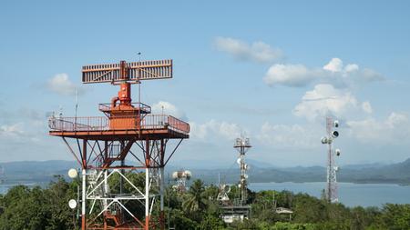 radar communication tower plane in blue sky background