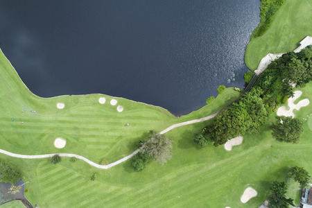 aerial view drone shot of beautiful golf field