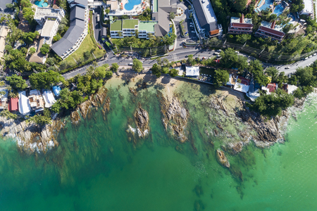 Top view landscape of Beautiful tropical sea in summer season image by Aerial view drone shot, high angle view.