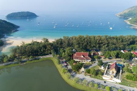 Aerial view drone shot of Nai harn beach Beautiful beach in Phuket Thailand. Stock Photo