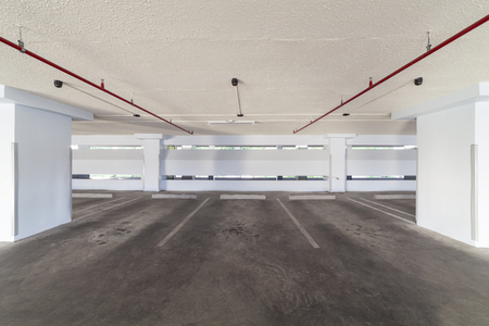 Modern white Parking garage interior ,industrial building. Stockfoto