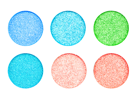Set of colorful eye shadow multi color palette on white background.