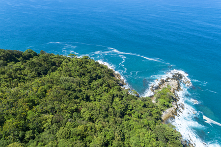 Drone view Top view landscape nature scenery view of Beautiful tropical sea with Sea coast view in summer season image by Aerial view drone shot. Фото со стока