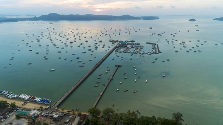 Ao Chalong pier Aerial view drone shot image in Phuket Thailand. Stock fotó