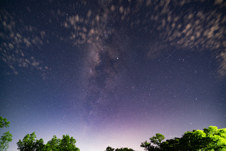 The Milky way and stars in the night sky.