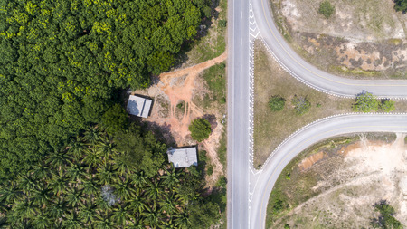 Top view aerial shot of the highway road.