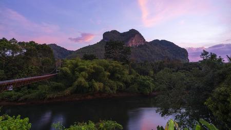 Beautiful nature view of Amazing heart nature mountain at Surat Thani, Thailand. Stock Photo