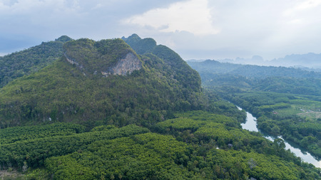 Drone nature view of Amazing heart nature mountain at Surat Thani, Thailand.