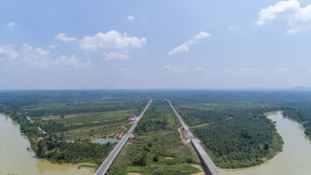 Aerial view Drone shot of highway in countryside.
