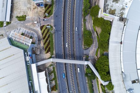 Drones Aerial View top down of road junction from above Image for transportation background. Stockfoto