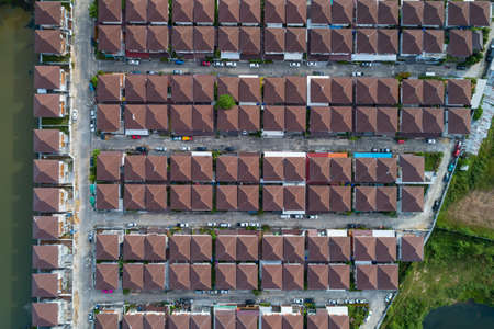Aerial view of roof modern houses village top view image from drone Stockfoto