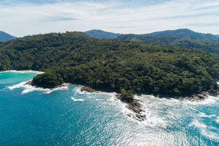 Landscape nature scenery view of Beautiful tropical sea with Sea coast view in summer season image by Aerial view drone shot, high angle view