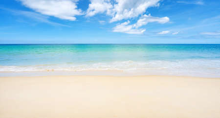 Beautiful sandy beach and sea with clear blue sky background Amazing beach blue sky sand sun daylight relaxation landscape view in Phuket island Thailand for Summer and travel background.
