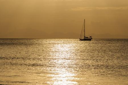 Sailing boat on a beautiful sunset  Stock Photo