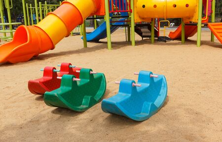 Empty children in playground Stock Photo