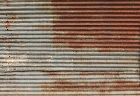 corrugated iron: Old galvanized steel  Stock Photo