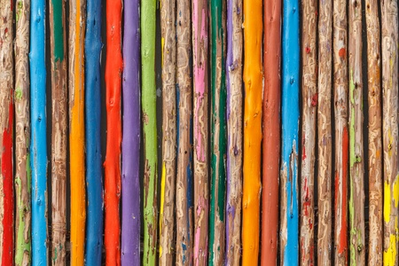 Colorful wood fence
