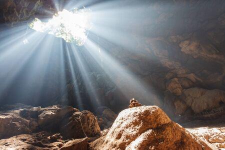 Sun rays in cave