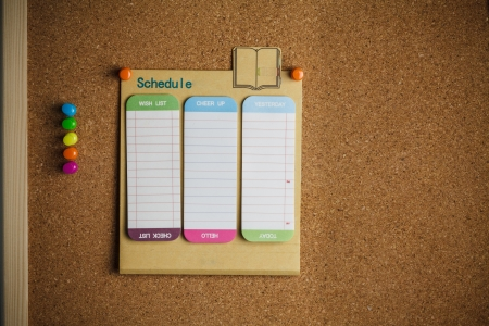 cork board with schedule list photo
