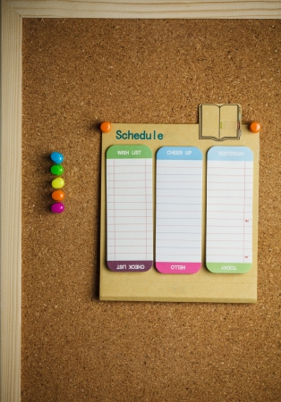 cork board with schedule list
