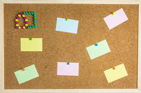 Cork board with colorful sticky notes Stock Photo - 17337745